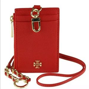 Tory Burch NWT Emerson Leather Lanyard ID Holder